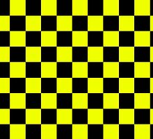 Square Harlequin Pattern Design Yellow and Black  by Sookiesooker