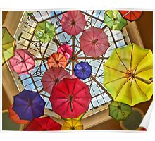 Colorful awesome umbrellas in the sky Poster