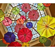 Colorful awesome umbrellas in the sky Photographic Print