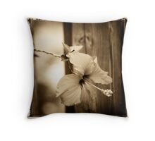 hibiscus in brown Throw Pillow