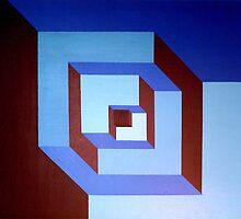 Notched Blue Boxes by David Bush