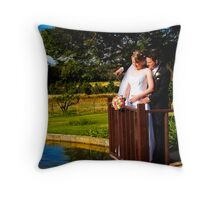 Bride and Groom on Pond Throw Pillow