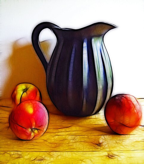Black Pitcher with Fruit by suzannem73