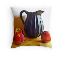 Black Pitcher with Fruit Throw Pillow