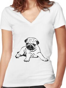 Cute Pug Women's Fitted V-Neck T-Shirt