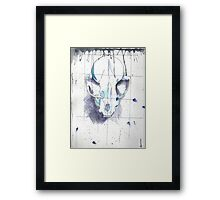 Skull - Ink and Watercolor Framed Print
