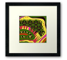 BRIGHTS, alligator abstract, geometric patterns Framed Print