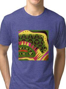 BRIGHTS, alligator abstract, geometric patterns Tri-blend T-Shirt