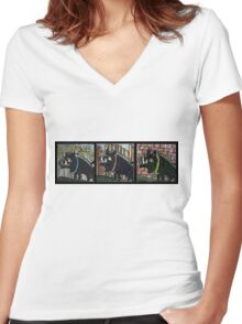 Three Bad Boars Women's Fitted V-Neck T-Shirt