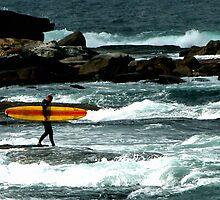 Surfer On Rocks by steviebuk