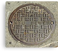 NYC Sewer Cover. Canvas Print