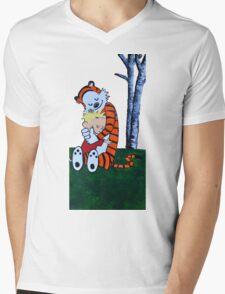 Calvin & Hobbes Transparent Print Mens V-Neck T-Shirt