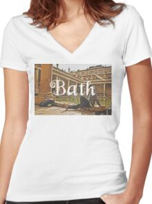 Bath II Typography Print Women's Fitted V-Neck T-Shirt