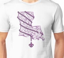 Louisiana State Wrapped in Purple Beads Unisex T-Shirt