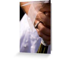 Bride, Rings, and Flowers Greeting Card