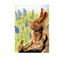Terra Cotta Bunny Family Art Print