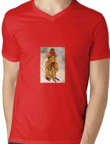 Learning To Ski Mens V-Neck T-Shirt