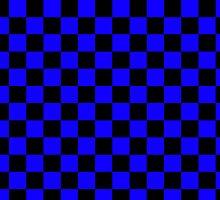 Square Harlequin Pattern Design Black and Blue  by Sookiesooker
