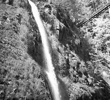 Waterfall with bridge by driftweird
