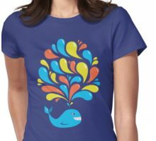 Funky Colorful Swirls Happy Cartoon Whale Womens Fitted T-Shirt