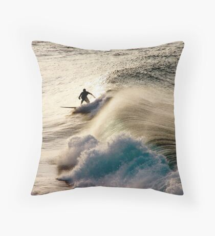 Solo sunset Surf  The Pass Byron Bay Throw Pillow