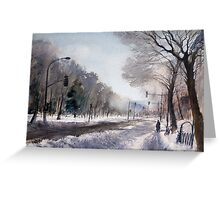 Cloudy winter morning near Lafontaine Park. Montreal Greeting Card