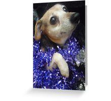 Purple Tinsel Dog Greeting Card