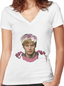 Arthur Pendragon Floral  Women's Fitted V-Neck T-Shirt