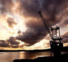 Sunset, cockatoo Island, Sydney Harbour by jphenfrey