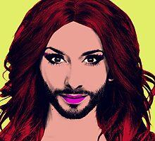 Conchita Wurst - Pop Art - Yellow version 4 by lockwie