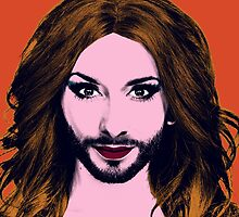 Conchita Wurst - Pop Art - Orange version 3 by lockwie