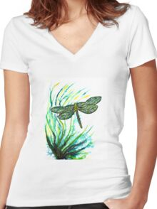 Echoes of Green - Dragonfly Women's Fitted V-Neck T-Shirt