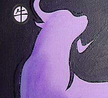 Lilac Ox - Greeting Card by taiche