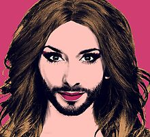 Conchita Wurst - Pop Art - Pink version 2 by lockwie