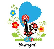 Rooster from Portugal with flowers by MariaFernandes