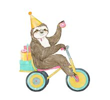 Birthday Sloth by lauragraves