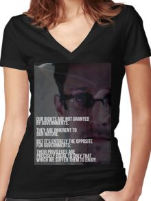 Snowden NSA Libertarian Rights Liberties  Women's Fitted V-Neck T-Shirt
