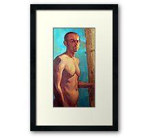 Portrait of Michel, oil painting on linen Framed Print