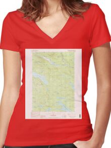 Maine USGS Historical Map Rainbow Lake East 102907 1988 24000 Women's Fitted V-Neck T-Shirt
