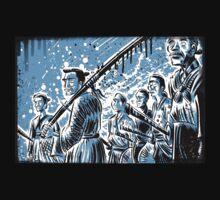 Seven Samurai Art Akira Kurosawa film movie illustration sword kung fu ninja japan japanese cartoon joe badon men 1954 action T-Shirt