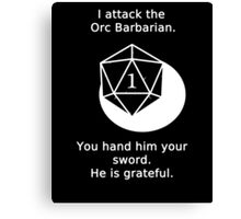 D20 Critical failure - Attack Canvas Print