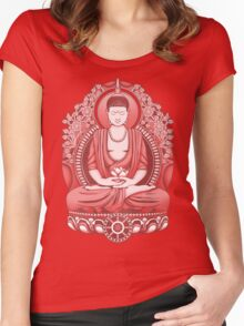 Gautama Buddha 2 Colour Halftone Women's Fitted Scoop T-Shirt