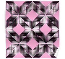 Pink & Black Box Pattern Poster