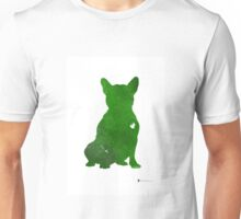 Green french bulldog art print watercolor painting Unisex T-Shirt