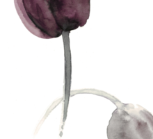 Purple tulips art print watercolor painting Sticker