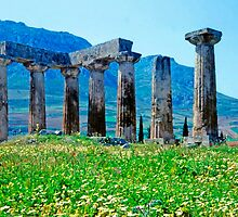 Towards the Acrocorinth, with Temple of Apollo by Priscilla Turner