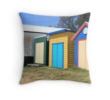 Beach Huts at Dromana Throw Pillow