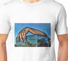 Embracing a Boring Building Unisex T-Shirt