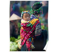 Child on Mother's Back, Sapa, Northern Vietnam Poster