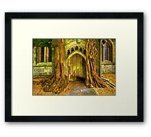 Yew Trees and North Door, St. Edwards Parish Church, Stow on the Wold, England Framed Print